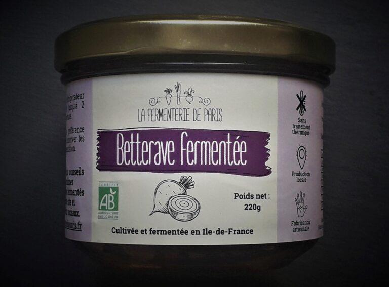 Bocal de betterave fermentée cultivée et transformée en Île-de-France à partir de légumes frais de saisons