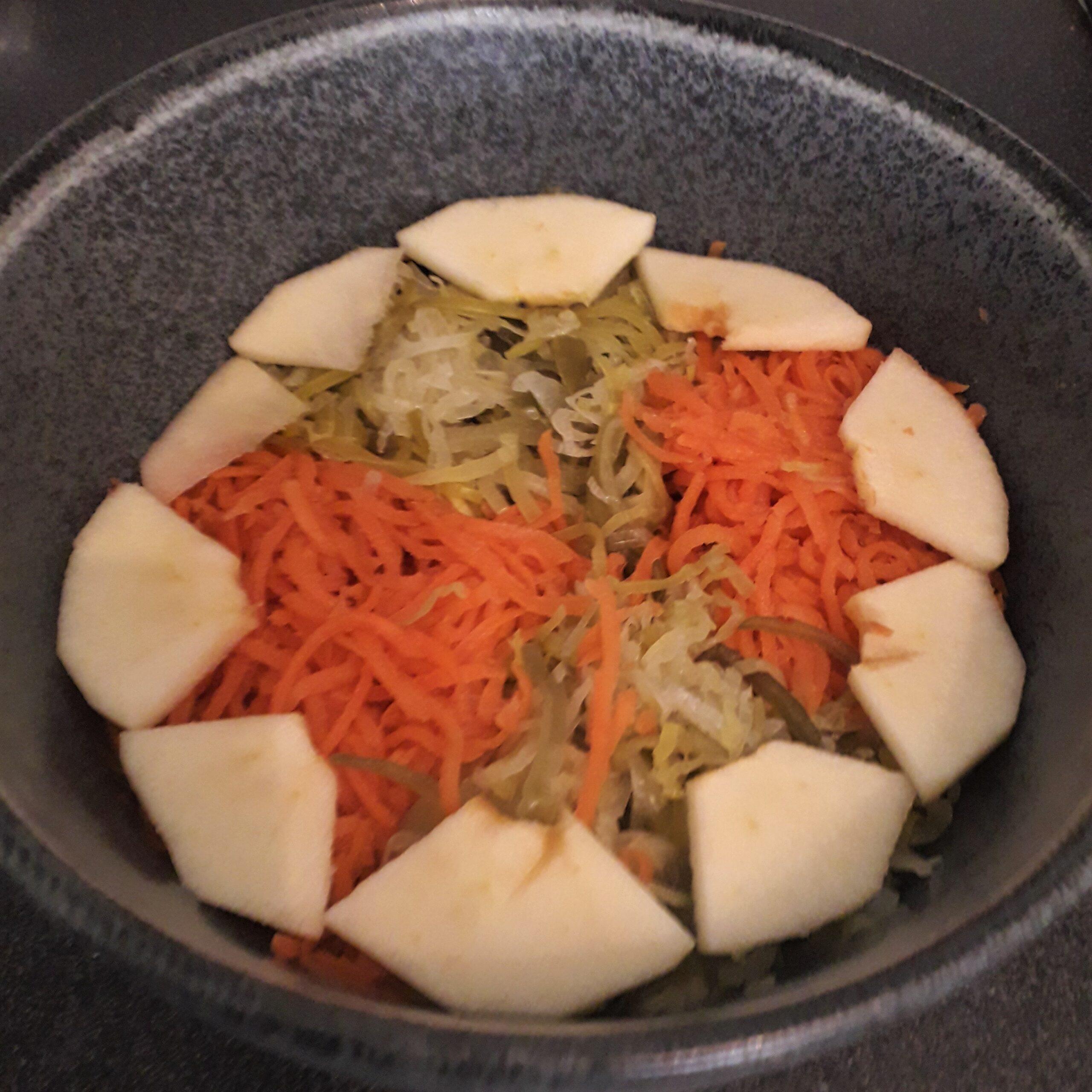 Salade poireau fermenté et carotte fermenté fait à partir de légumes fermentés bio cultivé en Île-de-France